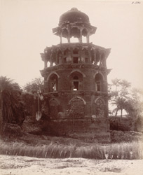Agra. Battis Khambha. Octagonal tower on the east bank of the Jumna from the north-east, from the river